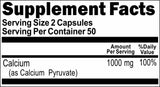 Private Label Calcium Pyruvate 1000mg 100caps or 200caps Private Label 12,100,500 Bottle Price