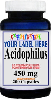 Private Label Acidophilus 450mg (No Refrigeration Needed) 200caps Private Label 12,100,500 Bottle Price