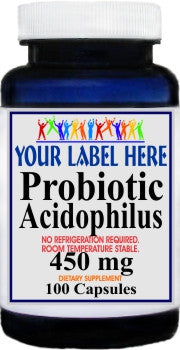 Private Label Probiotic Acidophilus 450mg (No Refrigeration Needed) 100caps or 200caps Private Label 25,100,500 Bottle Price