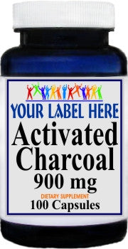 Activated Charcoal 900mg 100caps or 200caps Private Label 25,100,500 Bottle Price