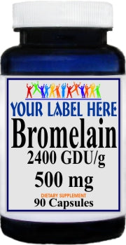 Bromelain 500mg 90caps or 180caps Private Label 25,100,500 Bottle Price
