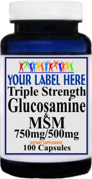 Private Label Triple Strength Glucosamine and MSM 100caps or 200caps Private Label 12,100,500 Bottle Price