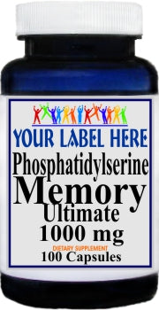 Private Label Phosphatidylserine 1000mg 100caps or 200caps Private Label 12,100,500 Bottle Price