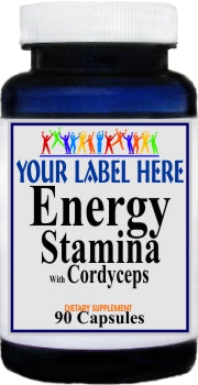 Private Label Energy Stamina with Cordyceps 90caps Private Label 25,100,500 Bottle Price