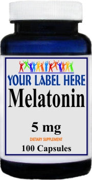 Private Label Melatonin 5mg 100caps or 200caps Private Label 12,100,500 Bottle Price