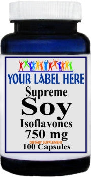 Supreme Soy Isoflavones 750mg 100caps or 200caps Private Label 25,100,500 Bottle Price