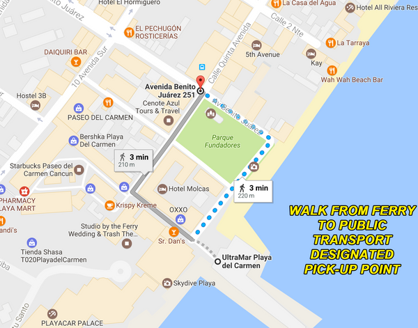 walk from playa ferry to ADO bus station