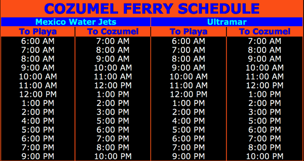 ferry schedule to cozumel ultramar and mexico water jets