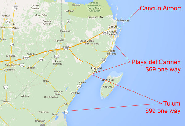 cancun to playa del carmen and tulum shuttle transfer pricing