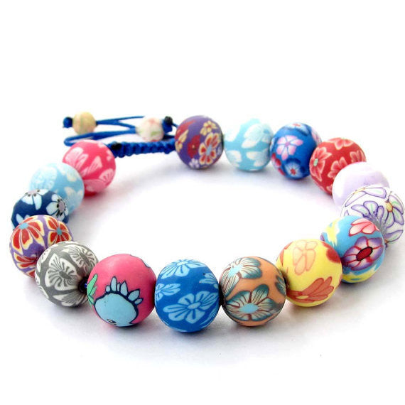 Fimo Polymer Clay Flower Beads Adjustable Bracelet