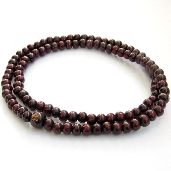 Purple Wood Buddhist Prayer Stretchy Mala