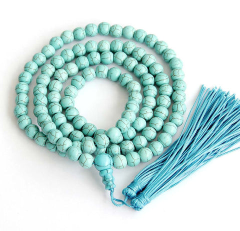 Blue Turquoise Buddhist Prayer Beads