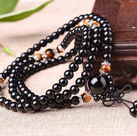 Buddhist Tigers Eye/Obsidian Mala Bracelet/Necklace