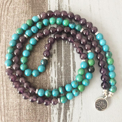 Amethyst and Chrysocolla Lotus Mala Bracelet/Necklace - Prana Heart: Everyday Mindfulness