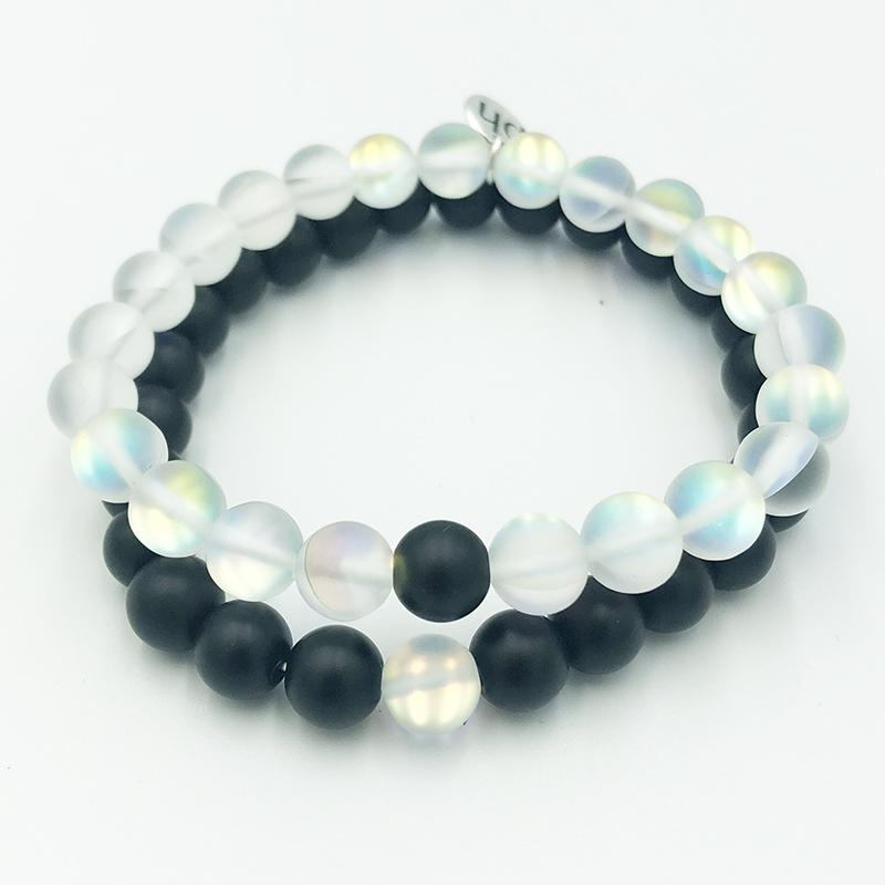 Angel Aura & Black Onyx Bracelet Stack - Prana Heart: Everyday Mindfulness