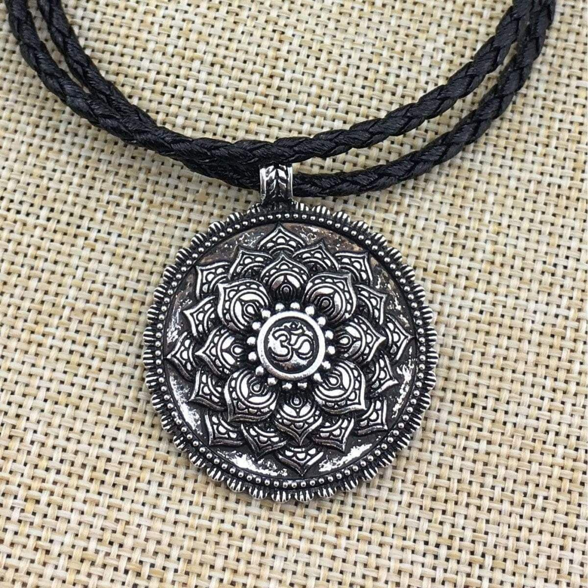Antique Silver Om Lotus Mandala Pendant Necklace - Prana Heart: Everyday Mindfulness