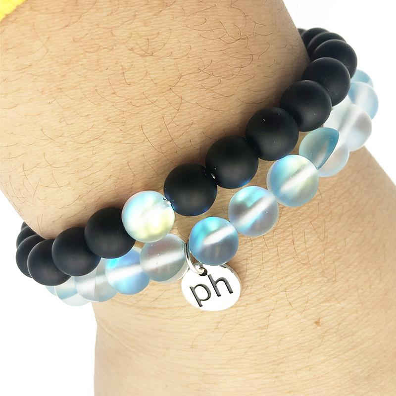 Aqua Aura & Black Onyx Bracelet Stack - Prana Heart: Everyday Mindfulness