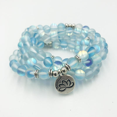 Aqua Aura Lotus Mala Bracelet/Necklace - Prana Heart: Everyday Mindfulness
