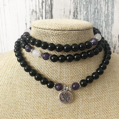 Black Onyx & Amethyst Om Mala Bracelet/Necklace - Prana Heart: Everyday Mindfulness