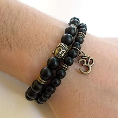 Black Onyx Buddha/Om Bracelet Stack - Prana Heart: Everyday Mindfulness