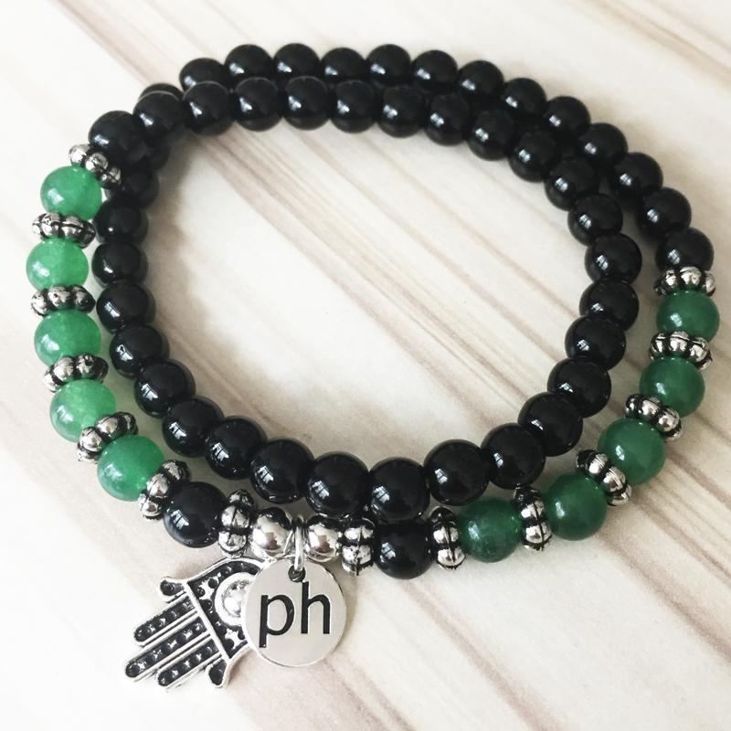 Black Onyx & Green Jade Hamsa Wrap Bracelet - Prana Heart: Everyday Mindfulness