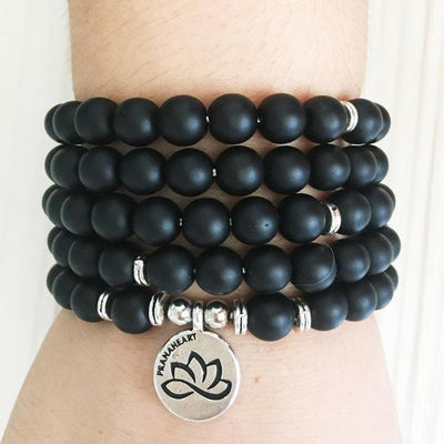 Black Onyx Lotus Mala Bracelet/Necklace - Prana Heart: Everyday Mindfulness
