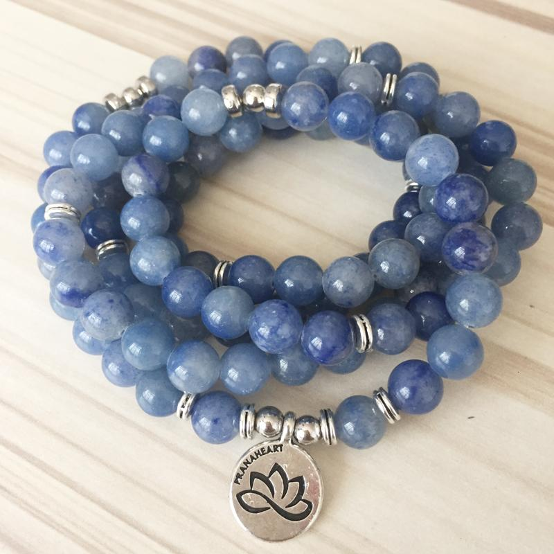 Blue Aventurine Stone Lotus Mala - Prana Heart: Everyday Mindfulness