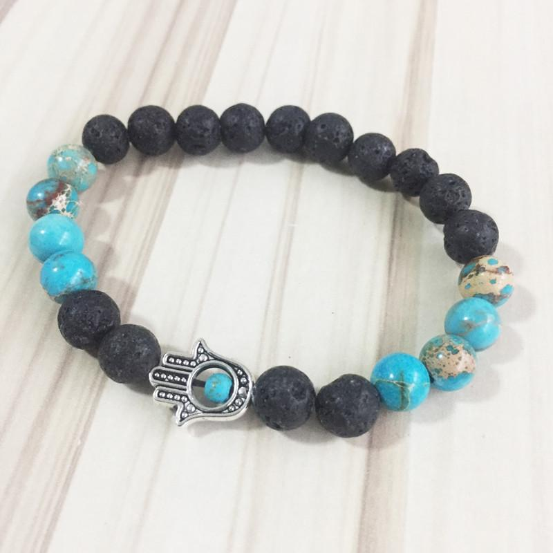 Blue Jasper/Black Lava Hamsa Bracelet - Prana Heart: Everyday Mindfulness
