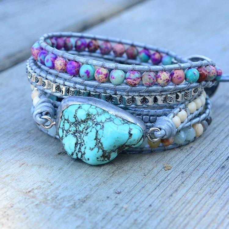 Calm Under the Waves Turquoise Wrap Bracelet - Prana Heart: Everyday Mindfulness