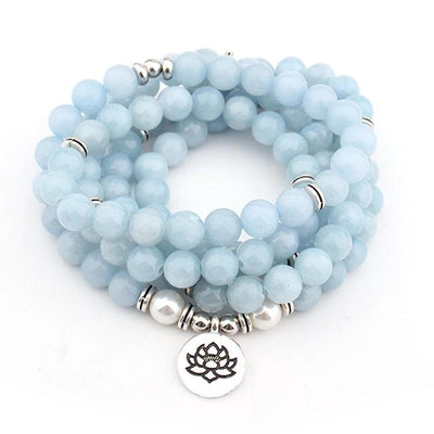 Comforting Caress Blue Chalcedony Mala - Prana Heart: Everyday Mindfulness