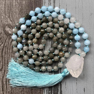 Creativity and Intuition - Natural Labradorite, Aquamarine & Crystal Quartz Hand Knotted Mala Necklace - Prana Heart: Everyday Mindfulness