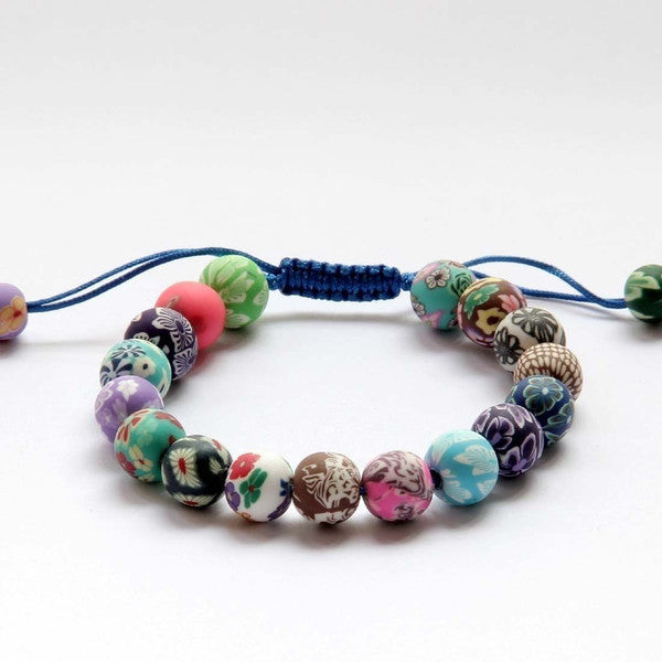 Fine Earthenware Flowers Buddhist Bracelet