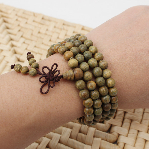 Green Sandalwood Beads Mala Bracelet