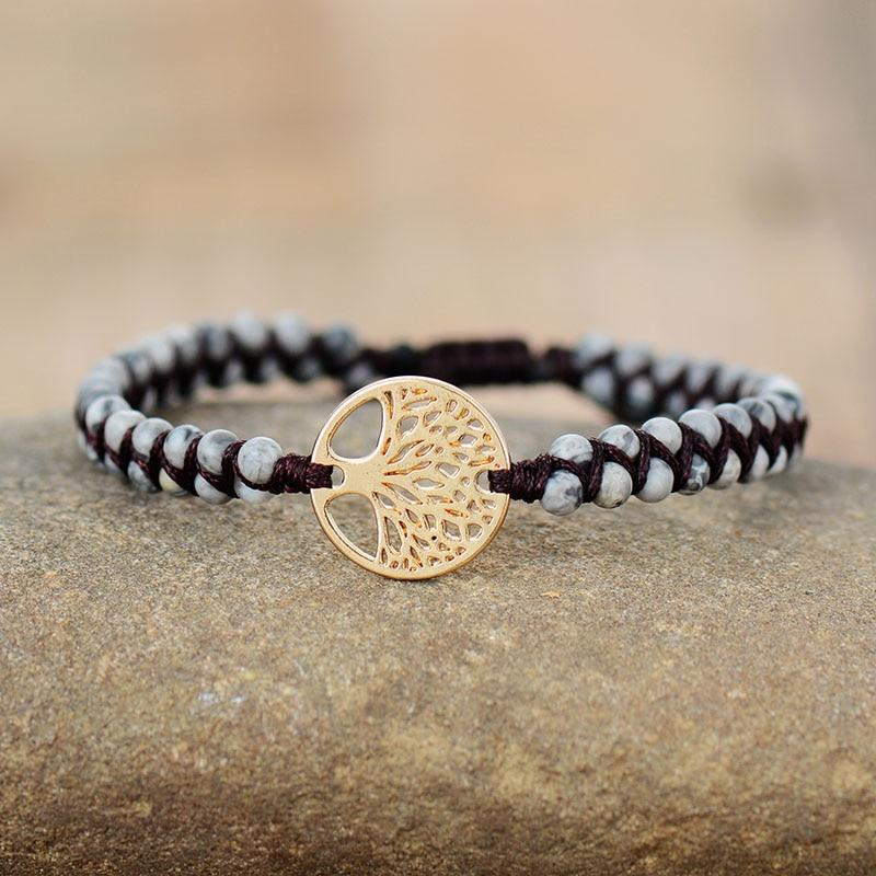 Gray African Jasper Tree Of Life Bracelet - Prana Heart: Everyday Mindfulness