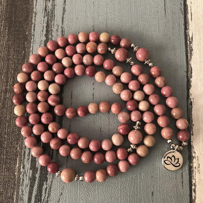 Healing Heart Pink Rhodonite Lotus Mala - Prana Heart: Everyday Mindfulness