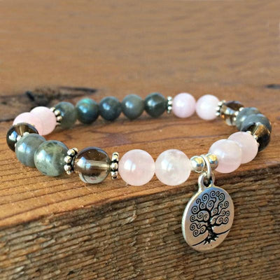 Heart of Fire Labradorite and Rose Quartz Bracelet - Prana Heart: Everyday Mindfulness