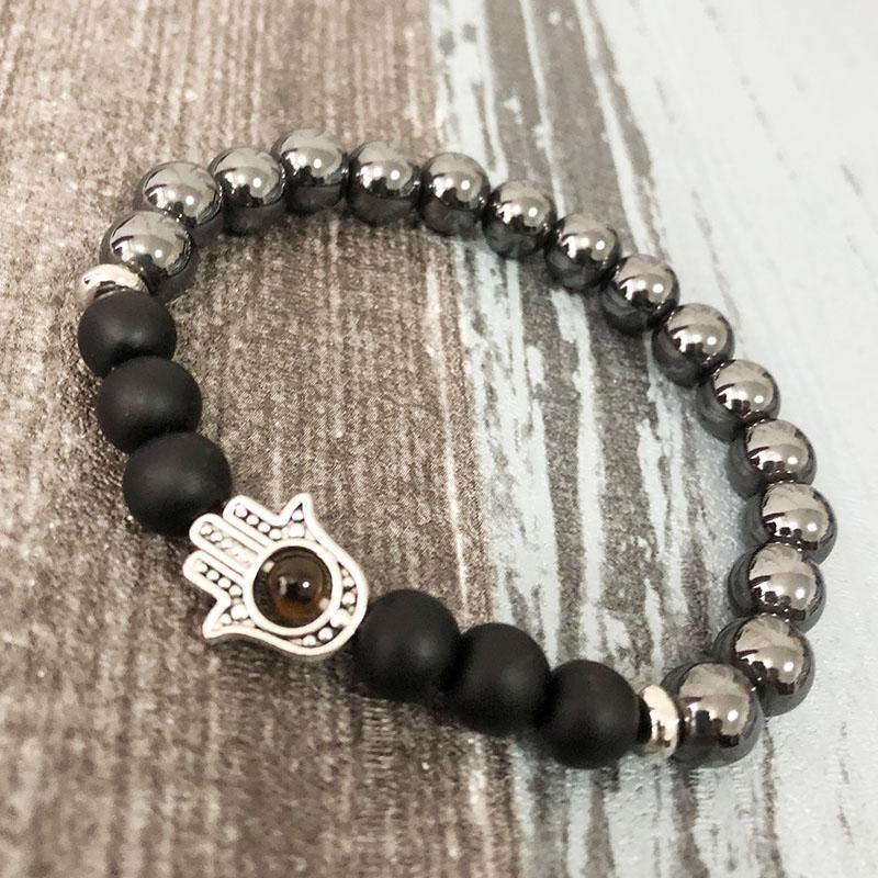 Hematite & Black Onyx Hamsa Mala Bracelet - Prana Heart: Everyday Mindfulness