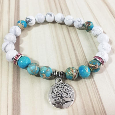 Howlite & Jasper Tree of Life Mala Bracelet - Prana Heart: Everyday Mindfulness