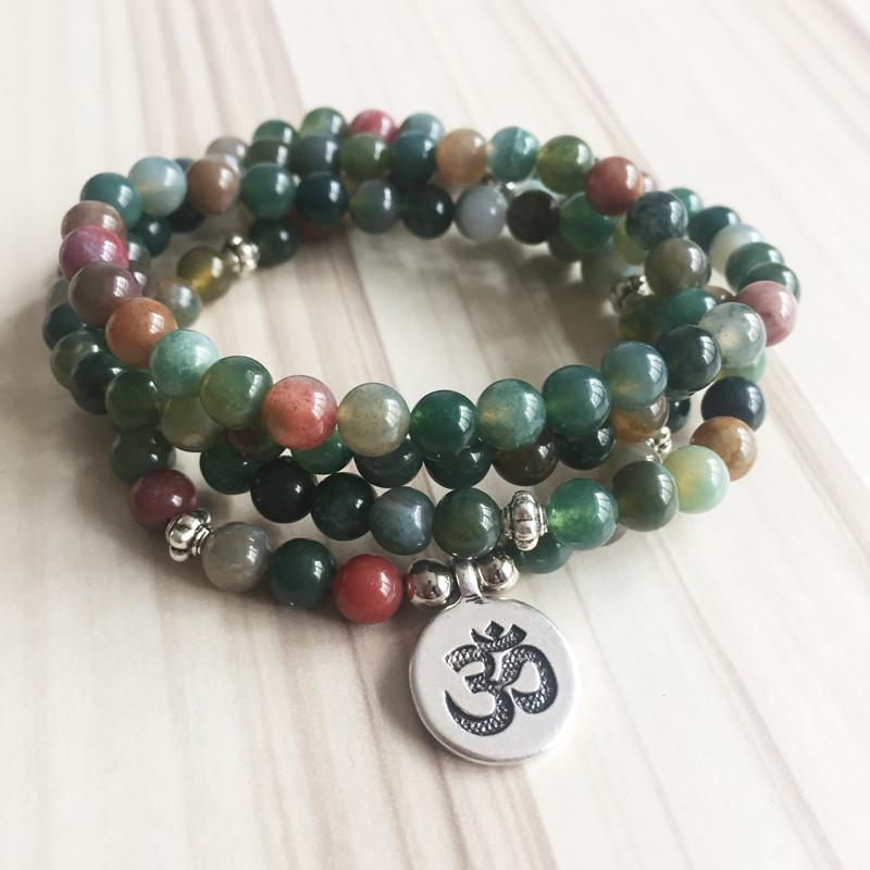 Indian Agate Mala Bracelet/Necklace (108 Beads) - Prana Heart: Everyday Mindfulness