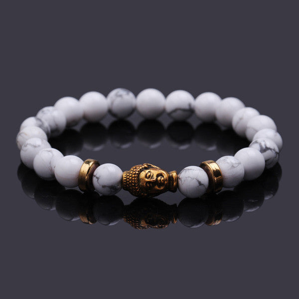 Gold Buddha Elastic Beaded Bracelet