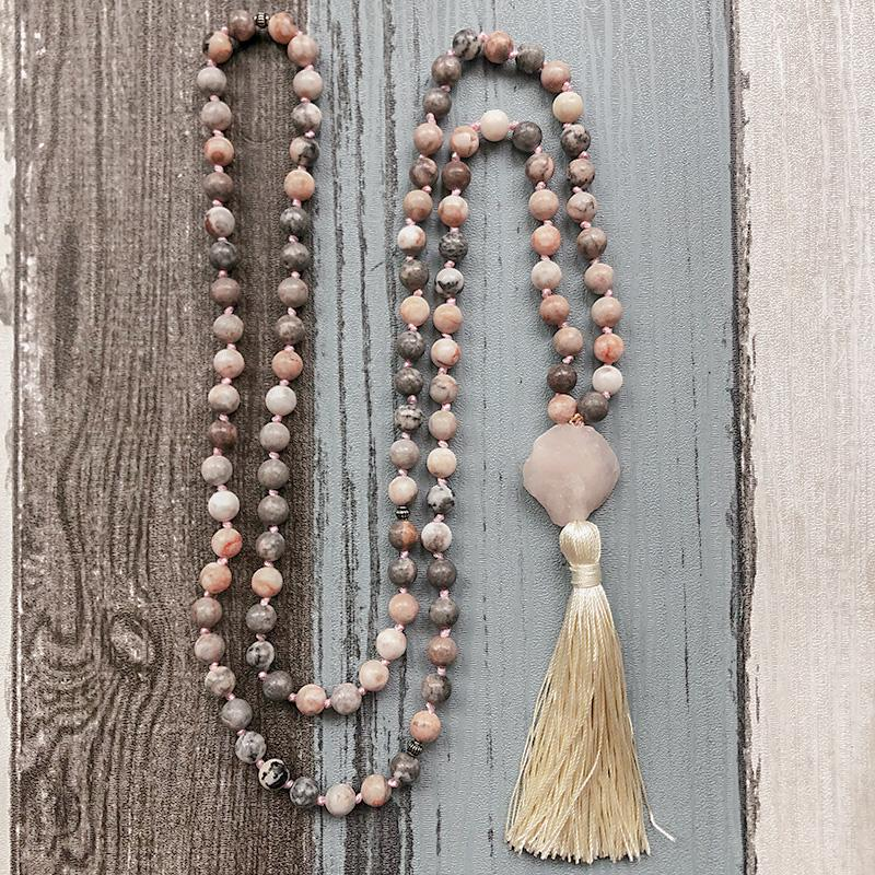 Love and Contentment - Zebra Jasper & Raw Rose Quartz Hand Knotted Mala Necklace - Prana Heart: Everyday Mindfulness