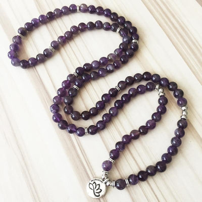 Natural Amethyst Lotus Mala - Prana Heart: Everyday Mindfulness