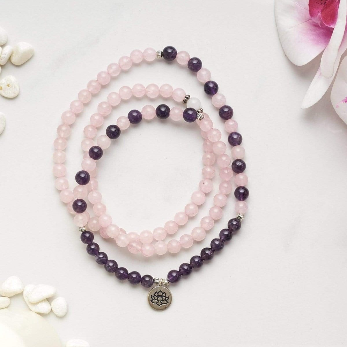 Natural Amethyst & Rose Quartz Lotus Mala - Prana Heart: Everyday Mindfulness