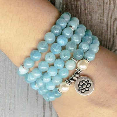 Natural Aquamarine Lotus Mala Bracelet/Necklace - Prana Heart: Everyday Mindfulness