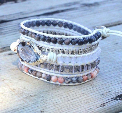 Natural Black Agate Protection Wrap Bracelet - Prana Heart: Everyday Mindfulness