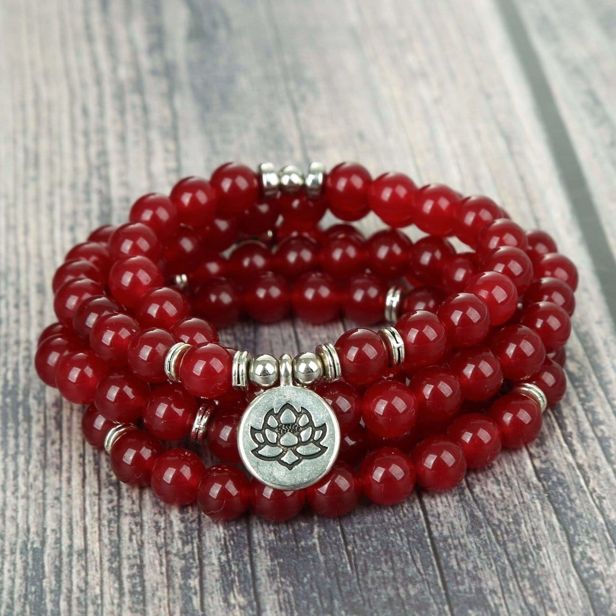 Natural Garnet Stone Lotus Mala Bracelet/Necklace - Prana Heart: Everyday Mindfulness