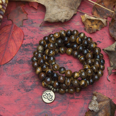 Natural Tiger's Eye Stone Mala Bracelet/Necklace (108 beads) - Prana Heart: Everyday Mindfulness
