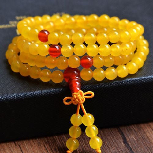 Natural Yellow Stone Mala Bracelet