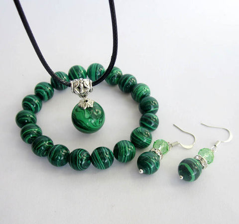 Phoenix Stone Necklace Bracelet and Earrings Set