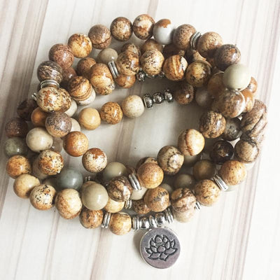 Picture Jasper Lotus Mala Bracelet/Necklace (108 Beads) - Prana Heart: Everyday Mindfulness